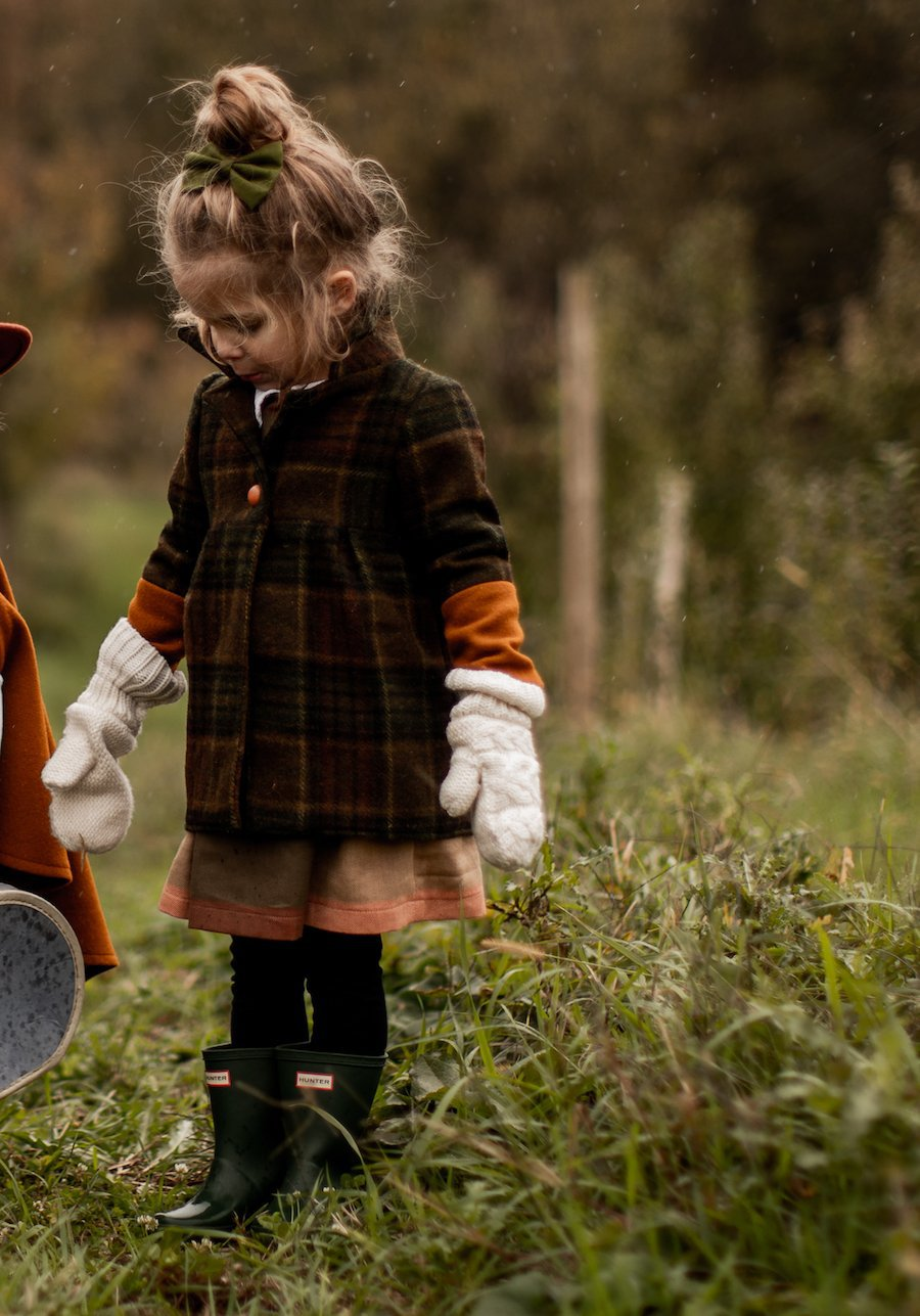 Brown & Green Lumberjack Plaid Girl's Coat with Wide Collar