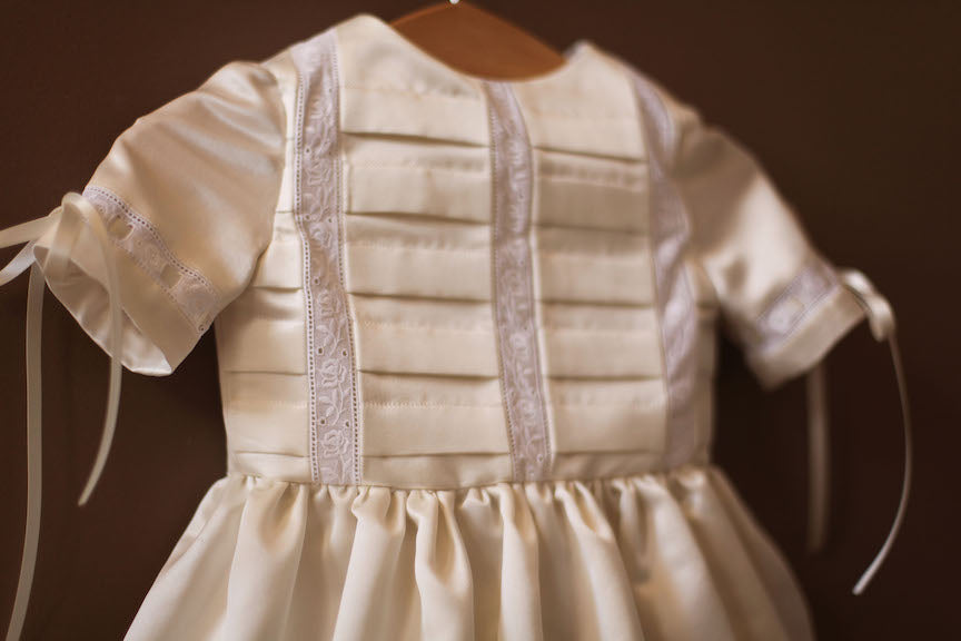 pleated silk baptismal gown