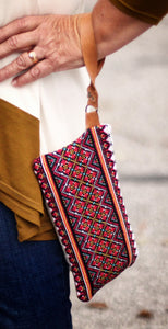 Ukrainian Hand Embroidered Handbag Clutch with Real Leather Details Style #3115 (Introductory Price)