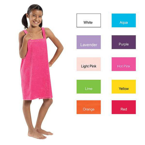 Easy Elegance Gifts - Kids' 100% Cotton Velour Spa Wrap With Shoulder Straps - 1