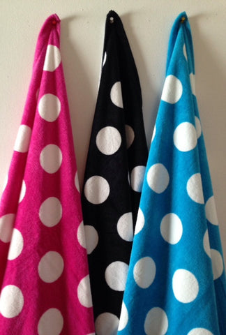 "Easy Elegance Gifts - Cotton Polka Dot Velour Beach Towels (30"" x 60"")"