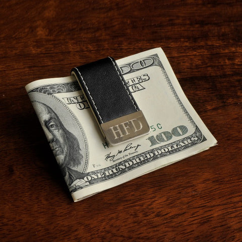 Easy Elegance Gifts - Leather Money Clip w/Stainless Plate