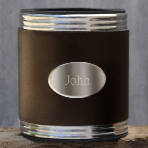 Easy Elegance Gifts - Personalized Brown Leather Koozie