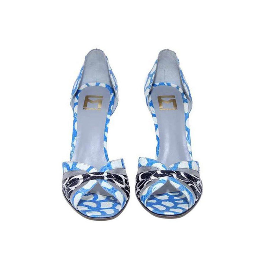 Women Blue Water Snake Skin Sandals Fred Marzo - Fred Marzo