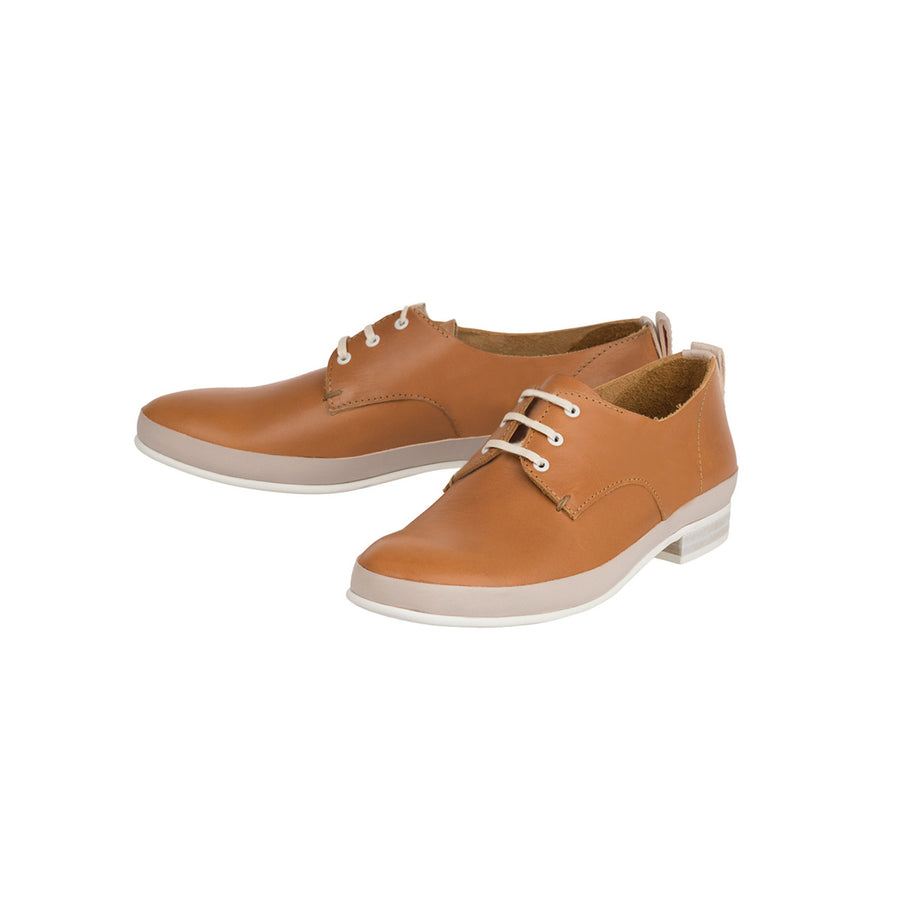 Women Camel Leather Derby Jimmy Jour Ferie Paris - Jour Ferie Paris