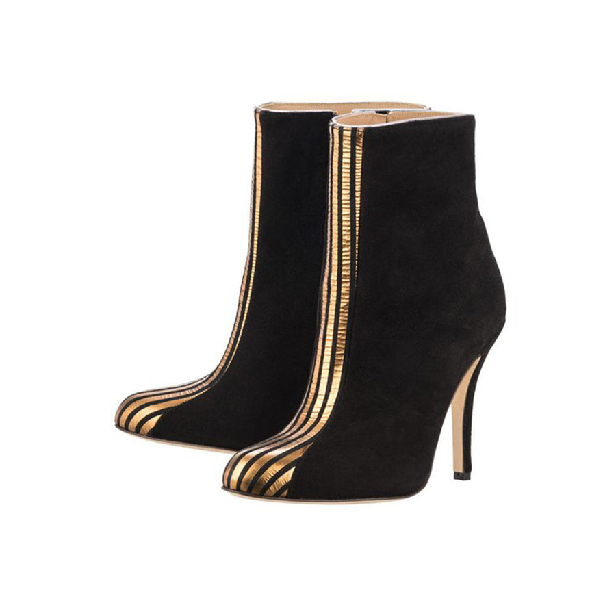 Black Boots Titop with Gold insertion Fred Marzo - Fred Marzo