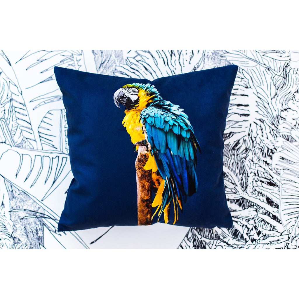 Artpilo Cushion Cover Animals Blue Velvet - Blue Parrot