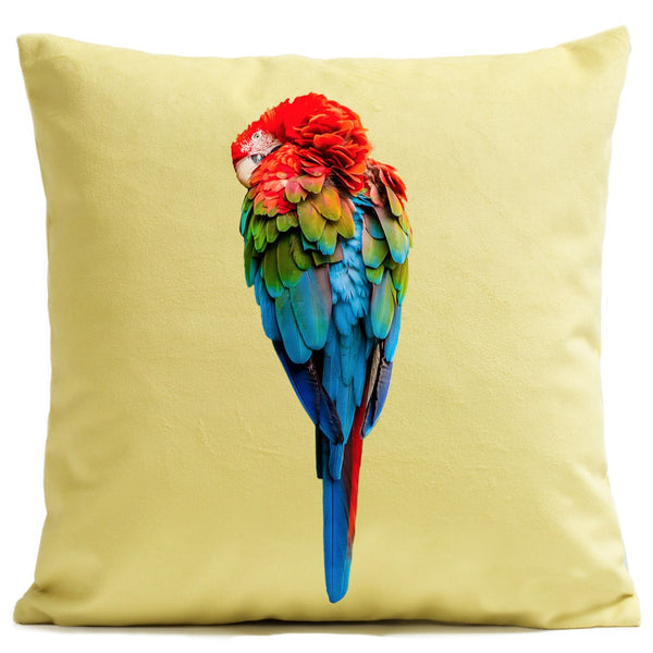 Artpilo Cushion Cover Yellow Velvet - Red Parrot - Artpilo