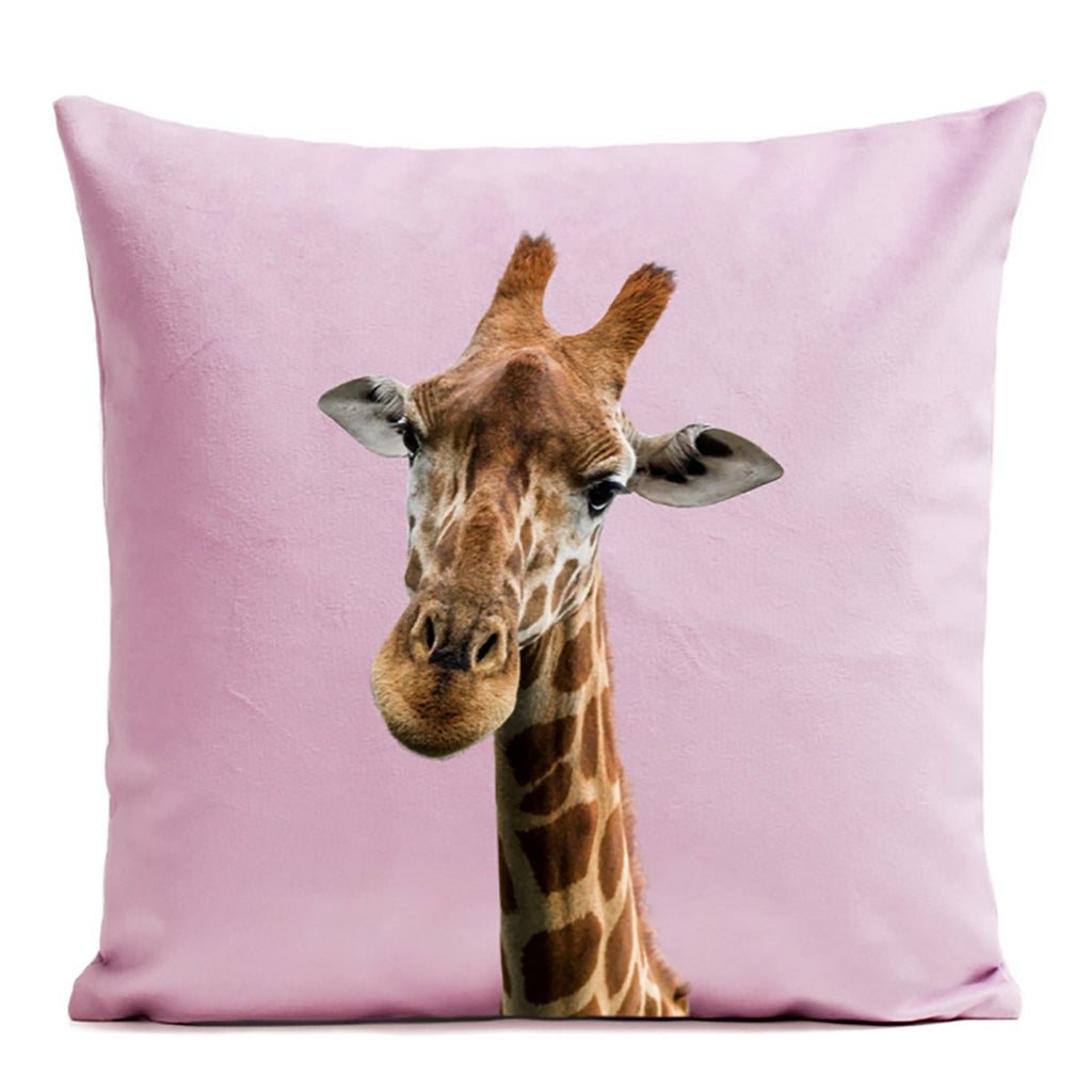 Artpilo Cushion Cover Giraffe - Light Pink Velvet - Artpilo