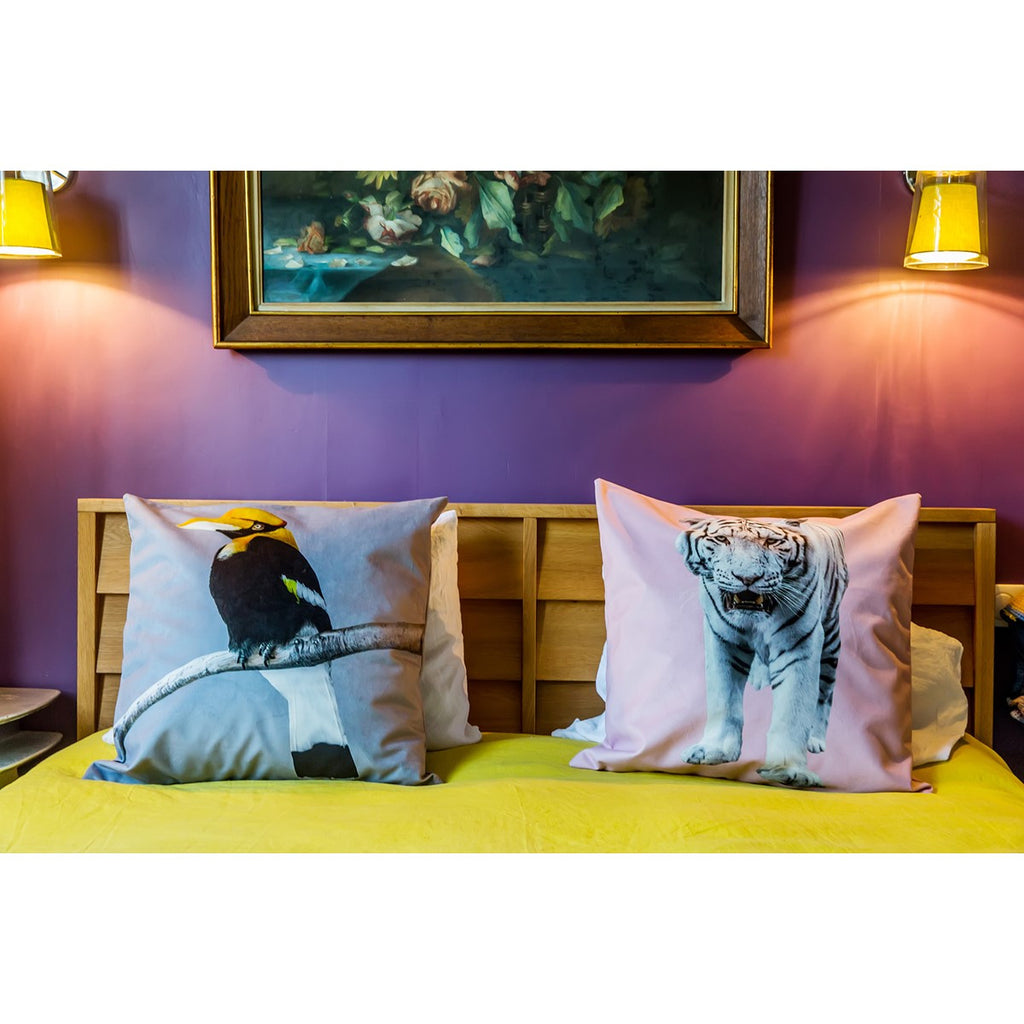 Artpilo Cushion Cover Animals Pink Velvet White Tiger - Artpilo