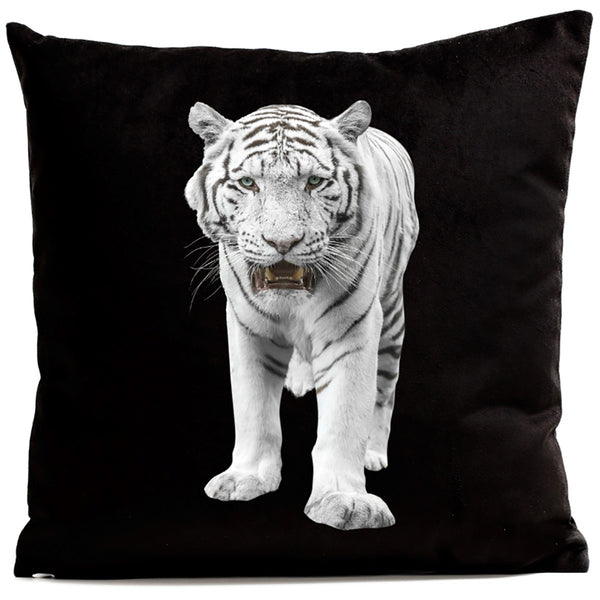 Artpilo Cushion Cover Animals Black Velvet White Tiger - Artpilo