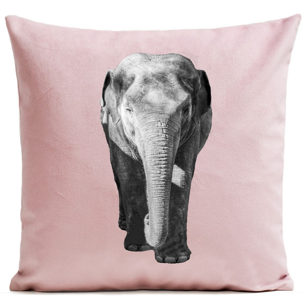 Artpilo Cushion Cover Animals Pink Velvet - Elephant - Artpilo