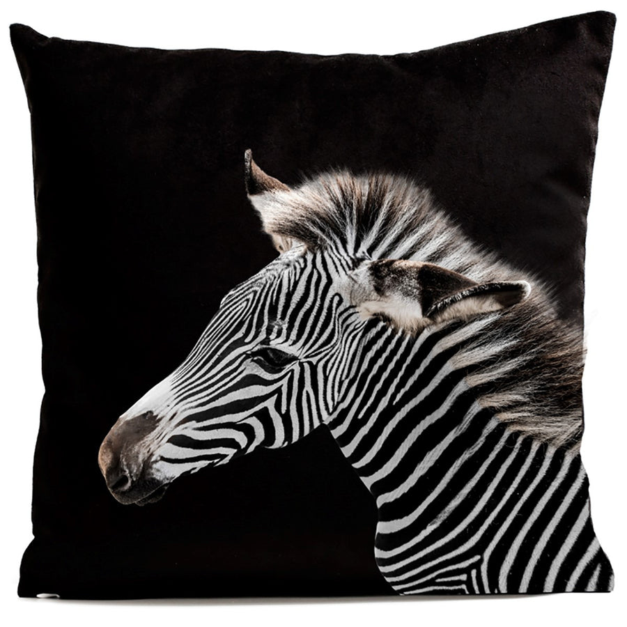 Artpilo Cushion Cover Animals Black Velvet Zebra - Artpilo
