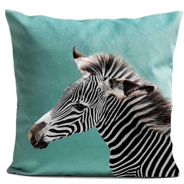 Artpilo Cushion Cover Animals Green Velvet Zebra - Artpilo