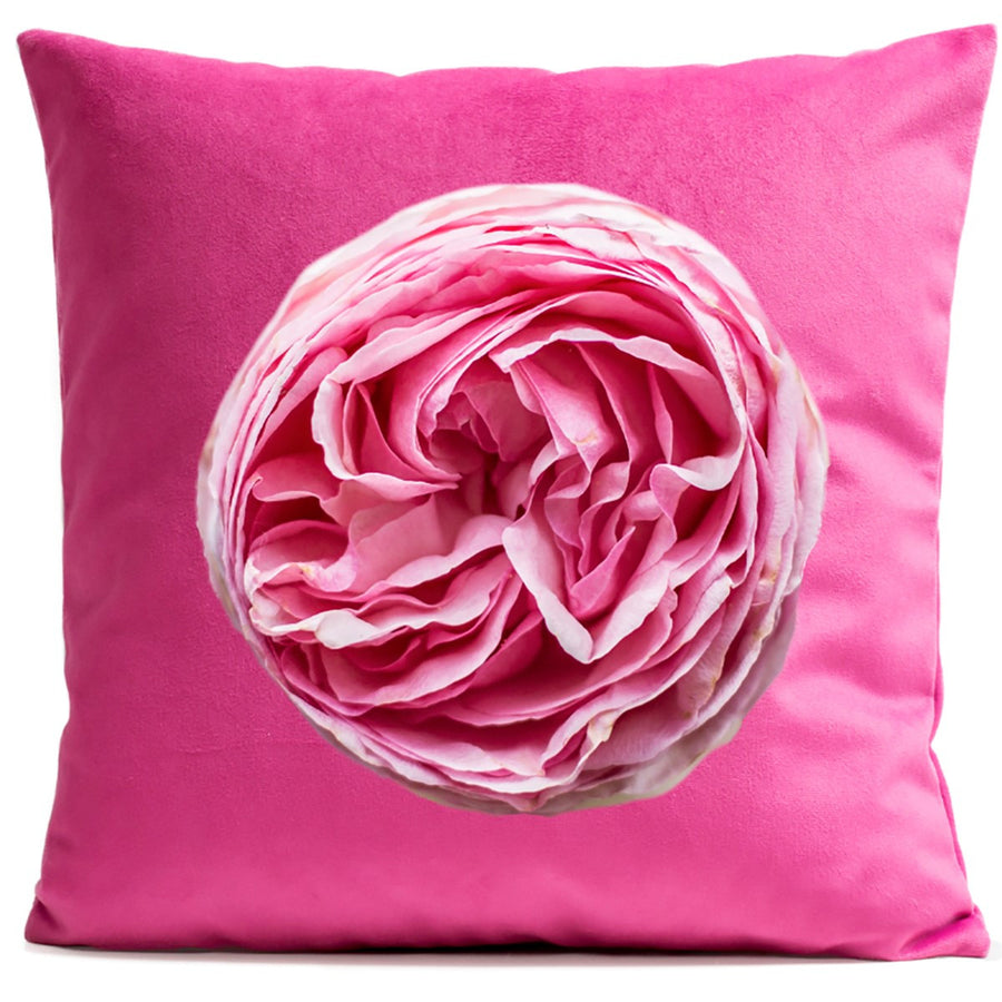 Arpilo Cushion Cover Flowers Velvet Pink Rose - Artpilo