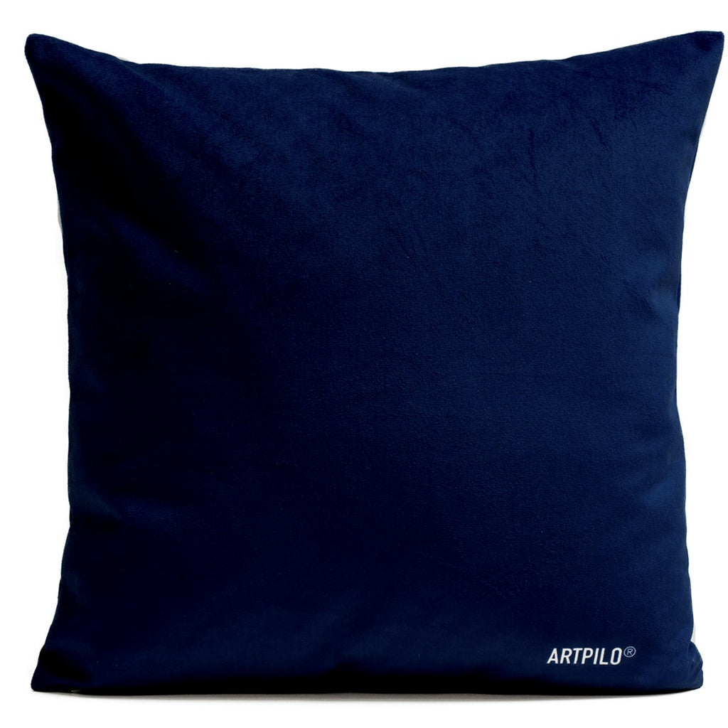 Artpilo Cushion Cover Flowers Blue Velvet Pink Rose - Artpilo
