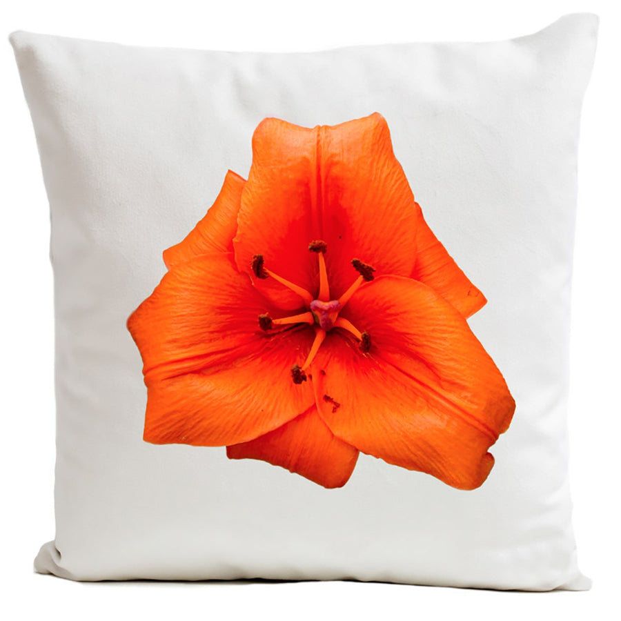 Artpilo Cushion Cover Flowers White Velvet Lys Orange - Artpilo
