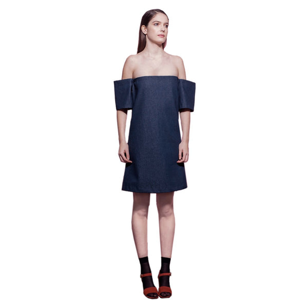 Off Shoulders Denim Dress The Wood HandMade in Paris