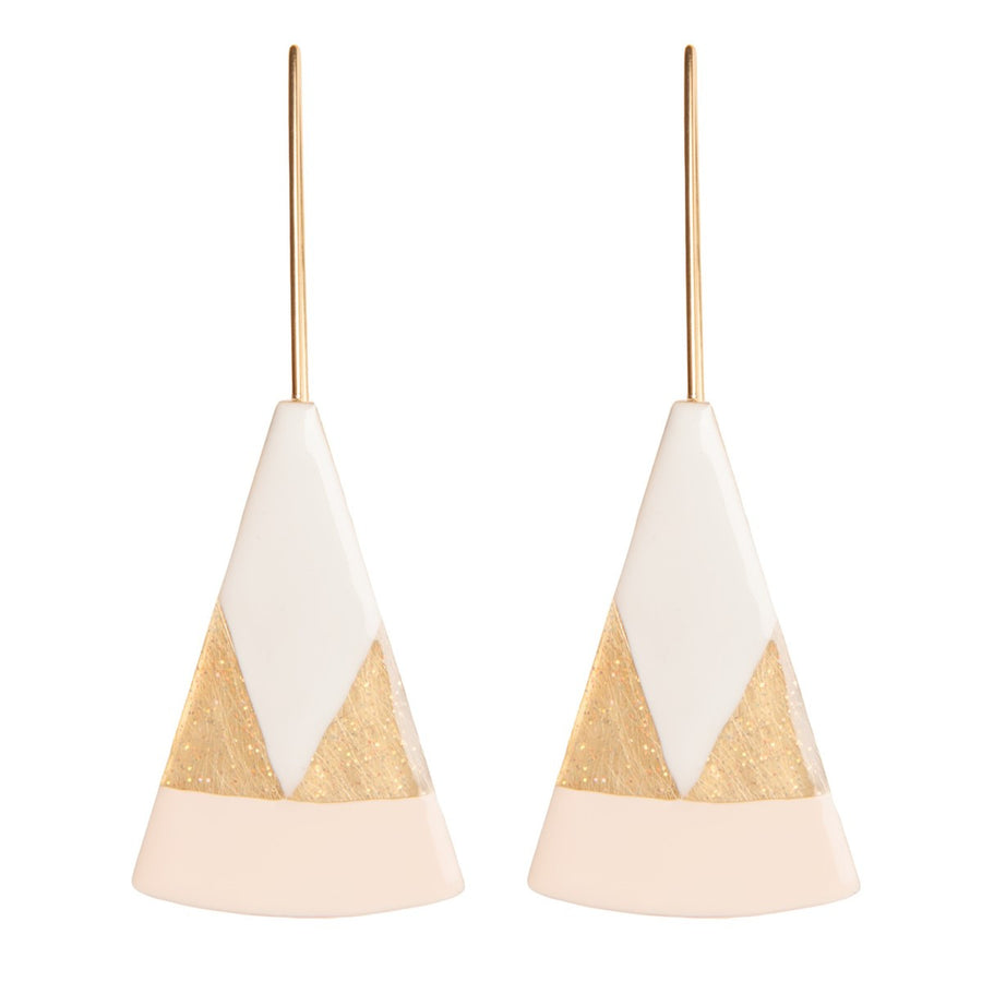 Handmade Gold Earring Triangle White Enamel Little Woman Paris - Little Woman Paris