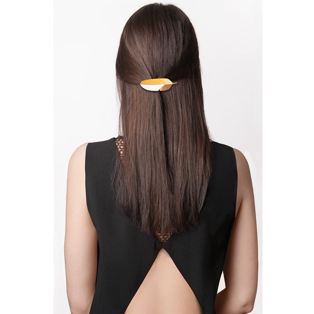 Barrette yellow tricolor yellow feather - Little Woman Paris