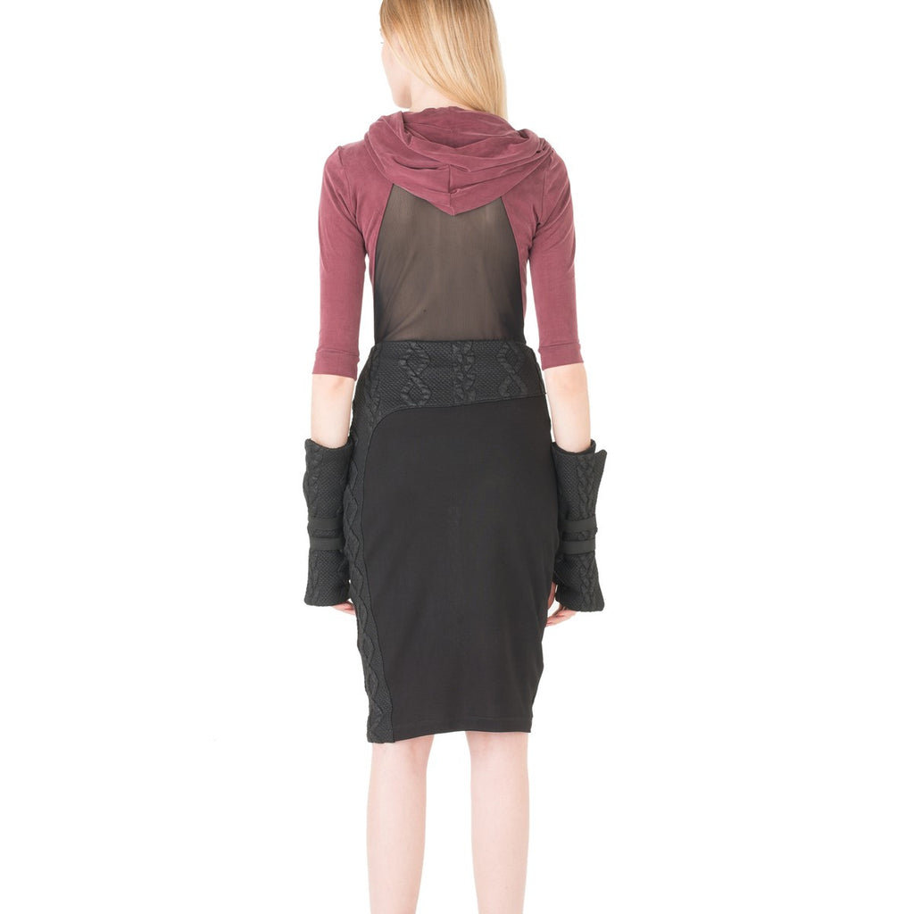 Black Asymmetrical Pencil Skirt EON Paris - EON Paris
