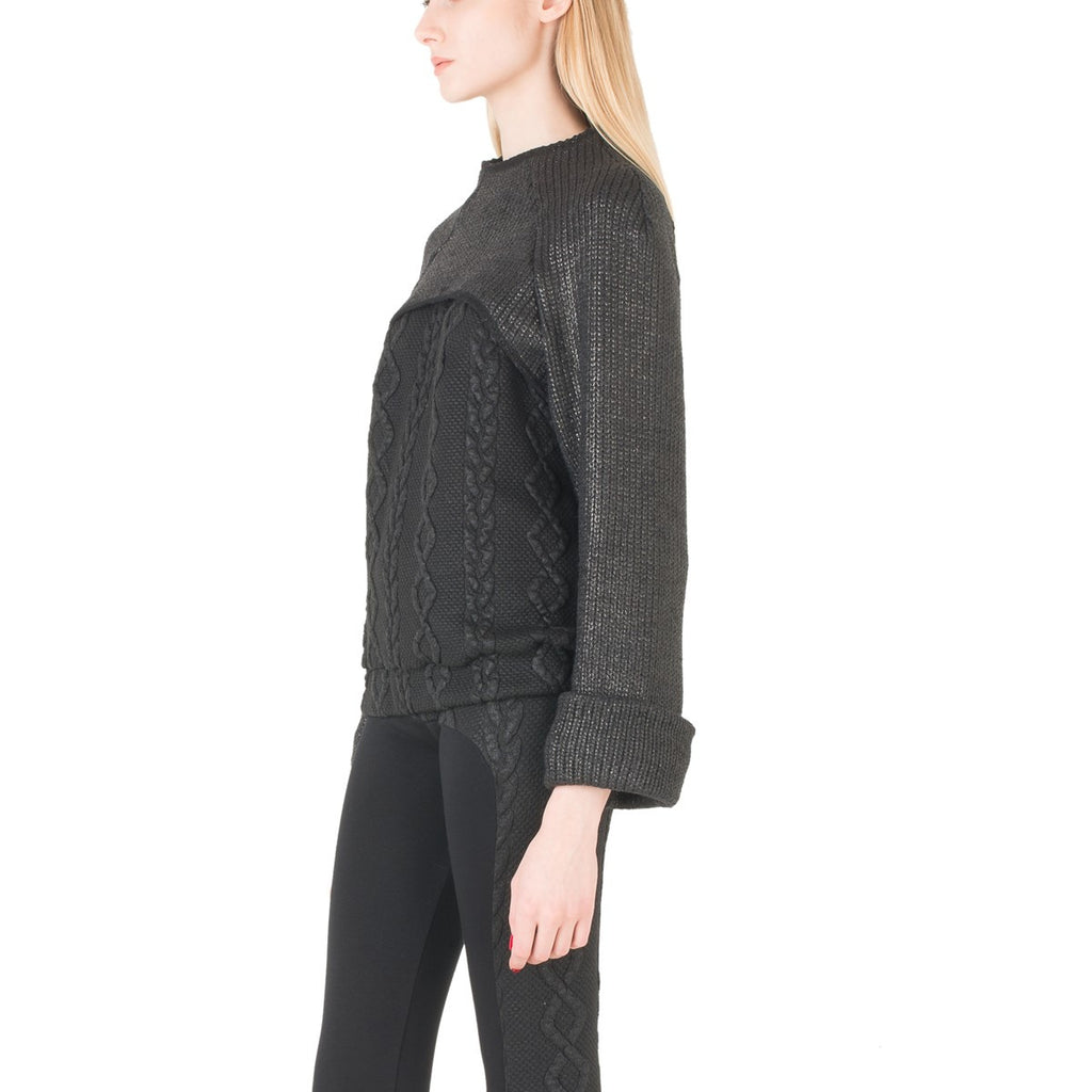 Two Detachable Pieces Black Women Sweater EON Paris - EON Paris