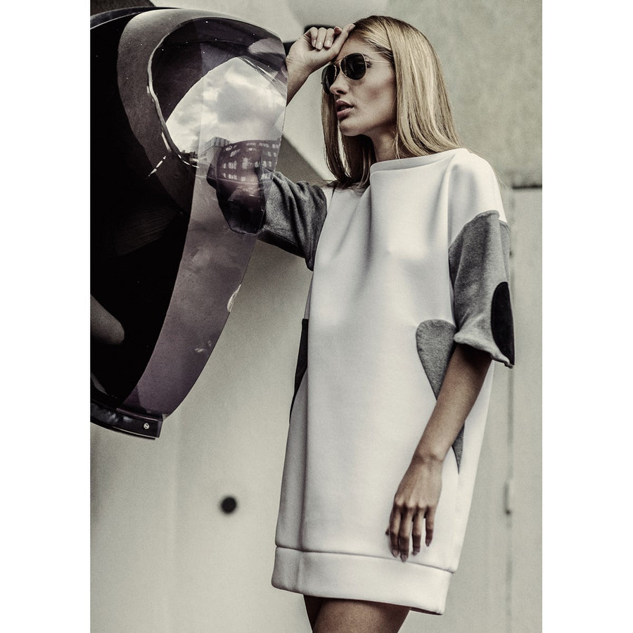 Neoprene white sweater dress EON Paris - EON Paris