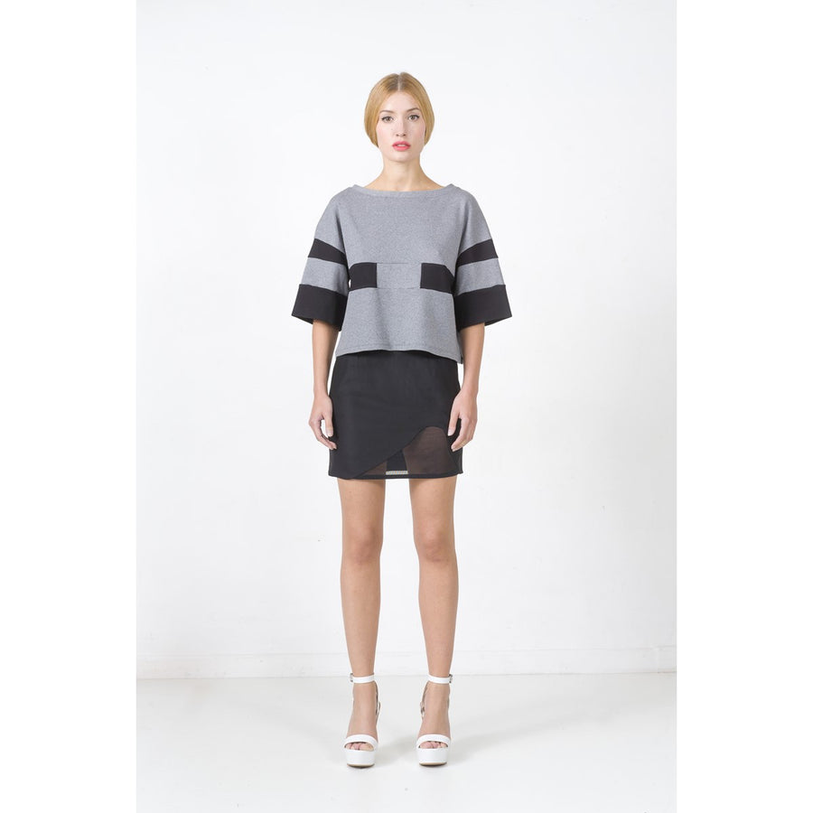 Black Mini Skirt With Mesh Panel EON Paris - EON Paris