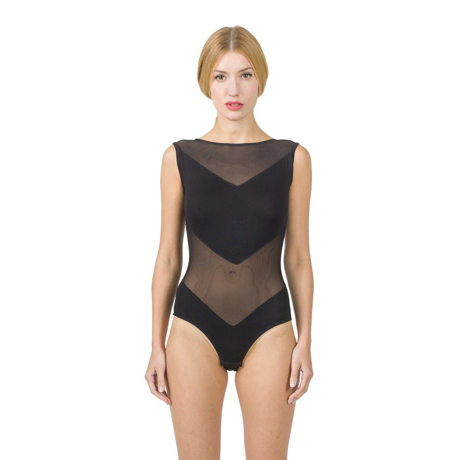 Women Mesh bodysuit with geometrical panels EON Paris - EON Paris