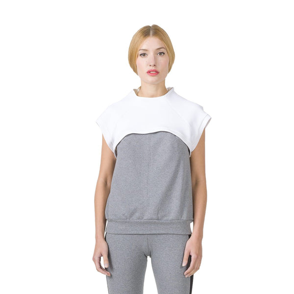 Bicolor grey top with white bolero EON Paris - EON Paris