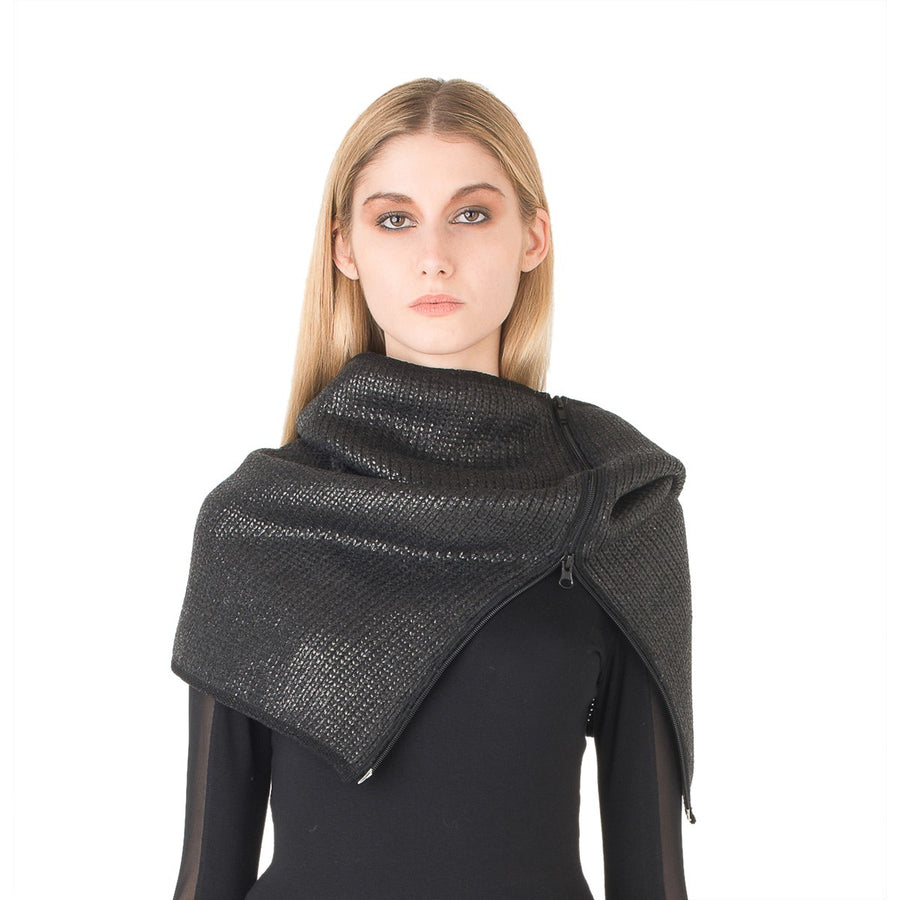 Women Black Snood in coated wool EON Paris - EON Paris