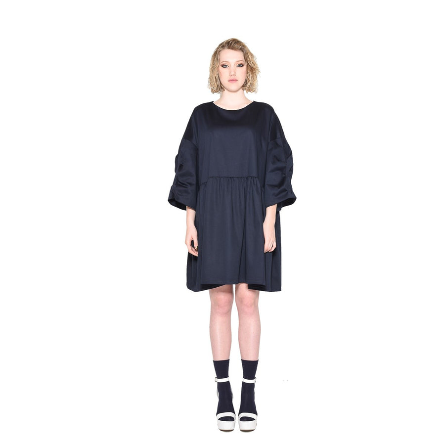 Oversize Navy dress with braided sleeves EON Paris - EON Paris