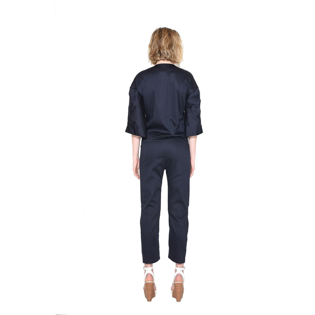 Braided sleeves Blue Navy Jumpsuit EON Paris - EON Paris