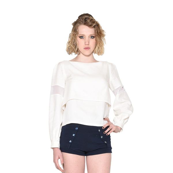 Women White Layered Top EON Paris