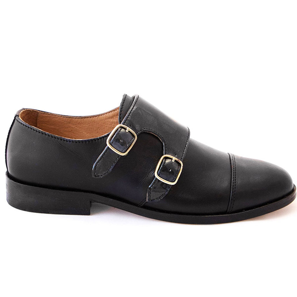 Double monk strap shoes for women - black