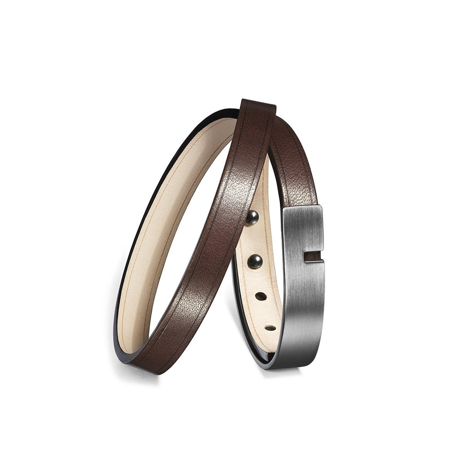 Men Dark Brown leather bracelet U-Turn Twice