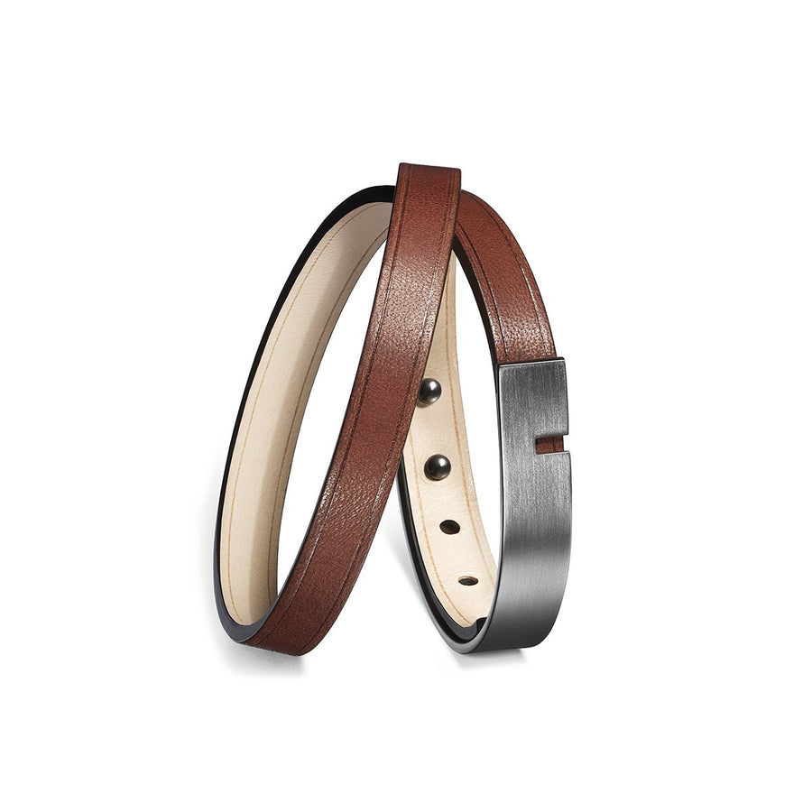 Men Brown leather bracelet U-Turn Twice