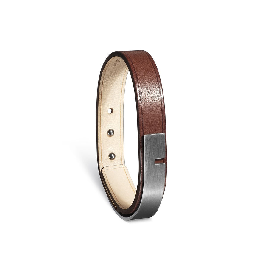 Men brown leather bracelet U-Turn Simple