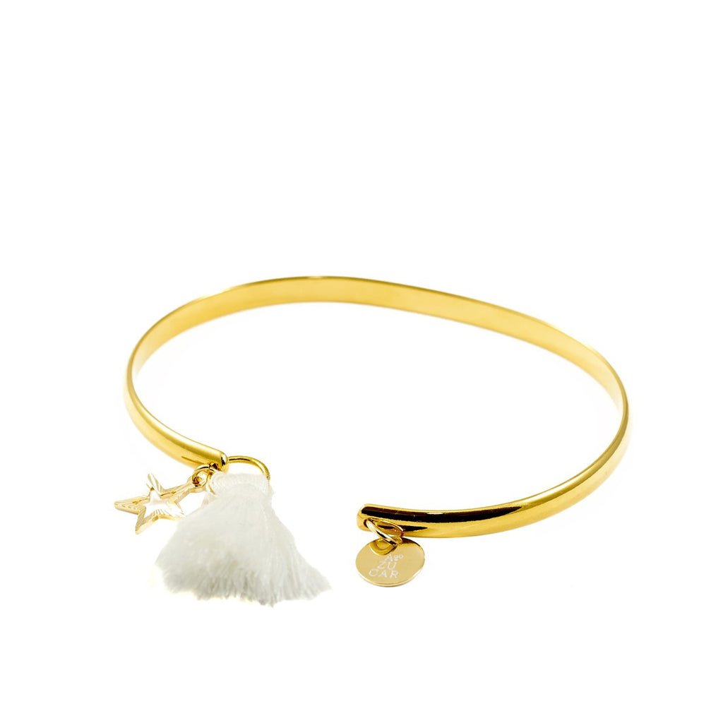 "Gold Bracelet with cotton tassel ""Make a Wish"" Azucar Bijoux - Azucar Bijoux"
