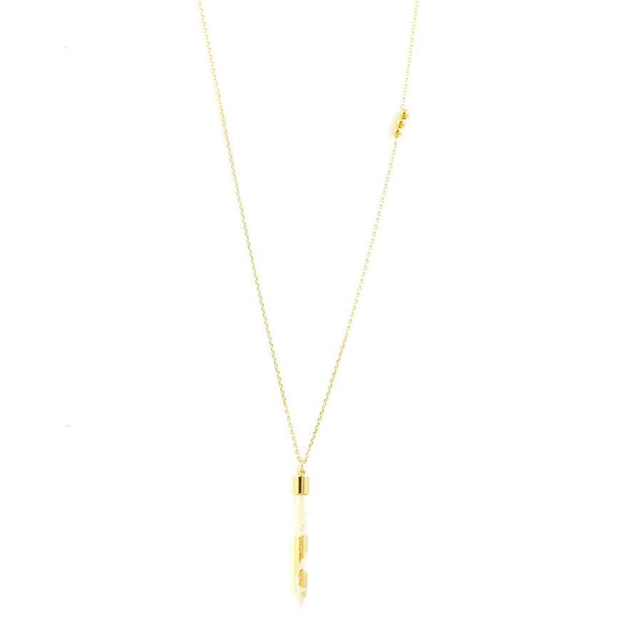 Handmade long gold Necklace with white howlite Irina - Azucar Bijoux