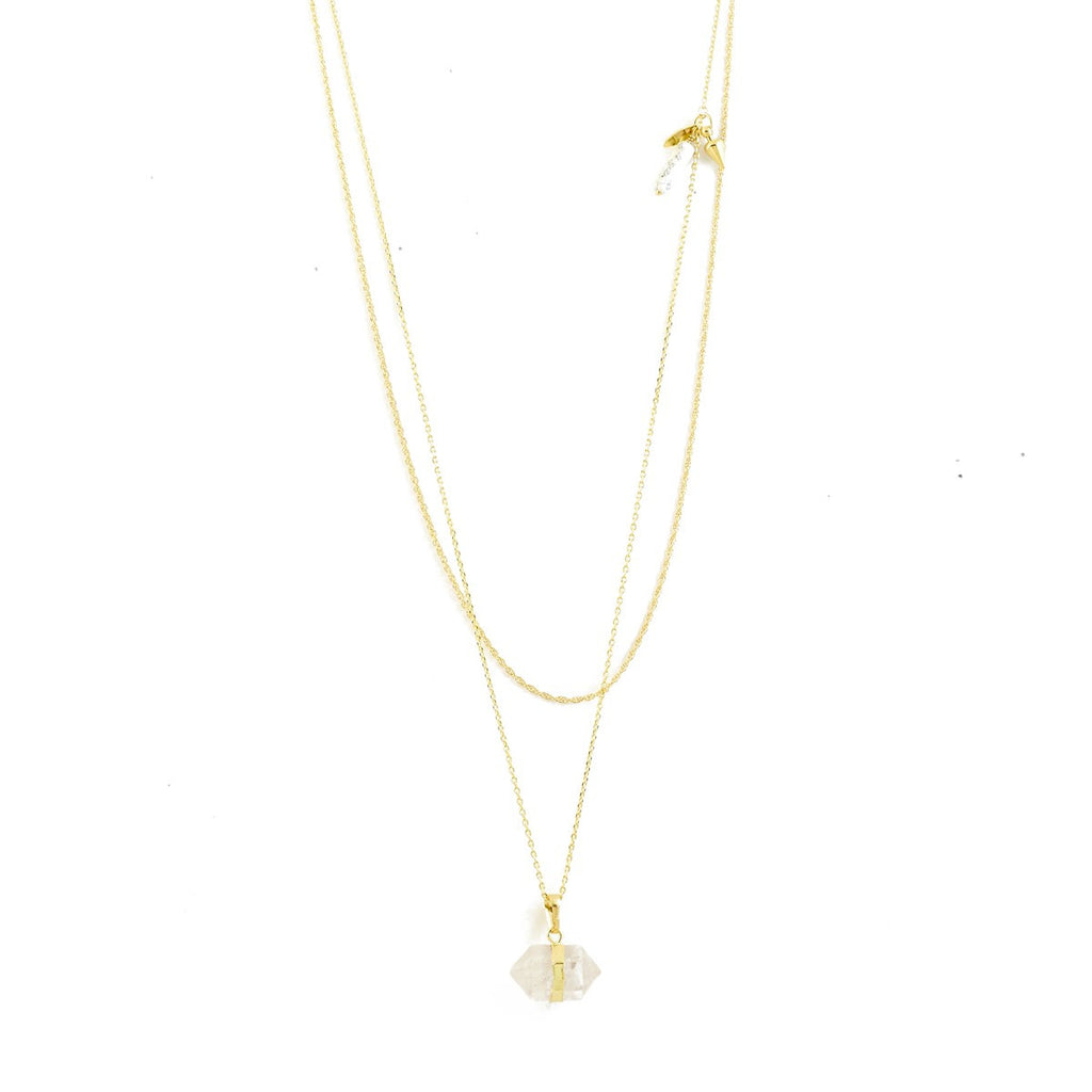 Gold-plated double chain necklace with jade pendant Luz - Azucar Bijoux