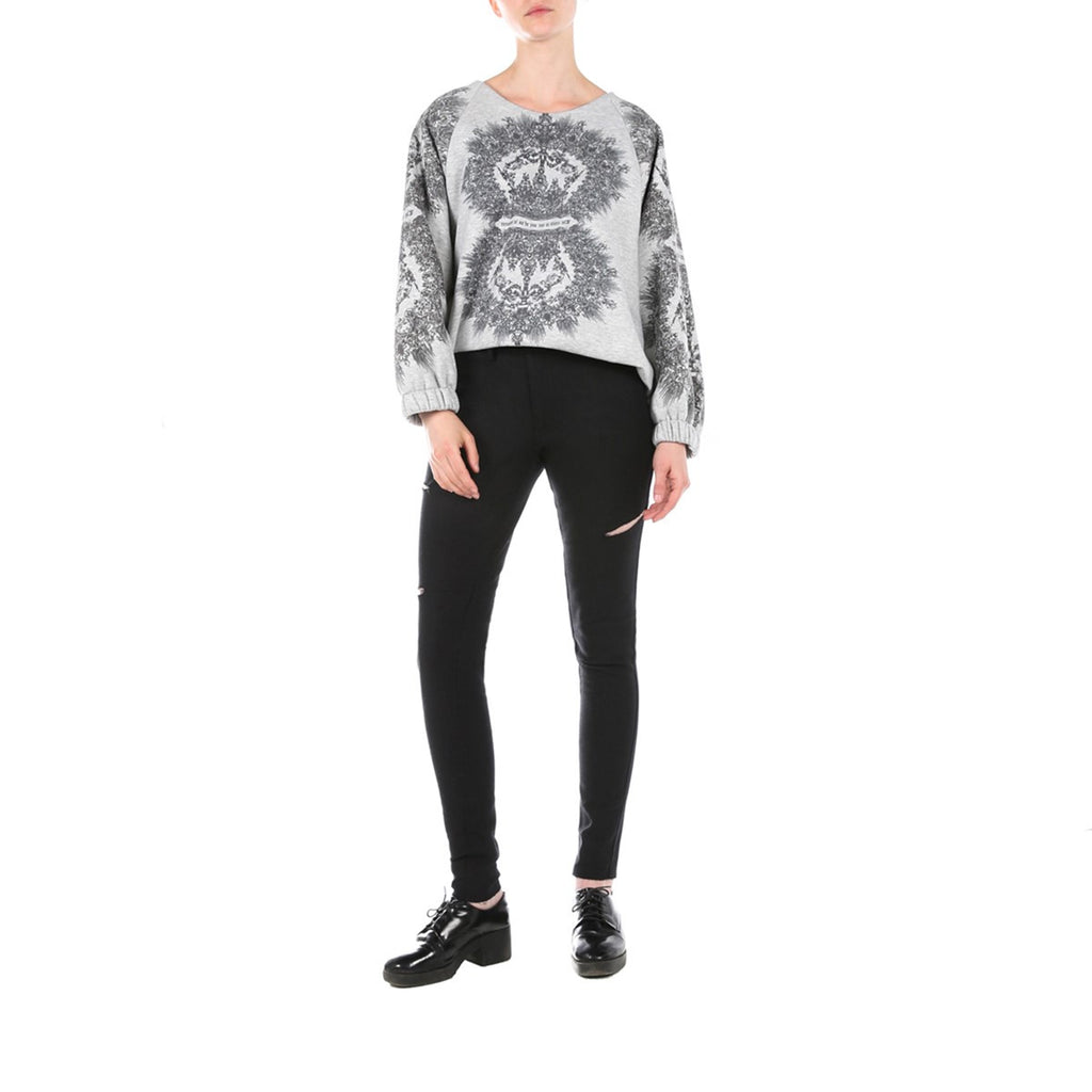 Women Printed Grey Cropped Oversized Top Edouard Lecouturier