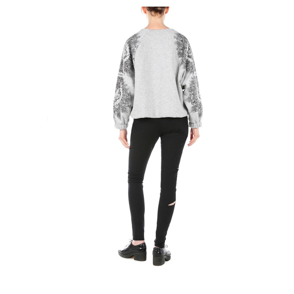 Women Printed Grey Cropped Oversized Top Edouard Lecouturier - EDOUARD LECOUTURIER