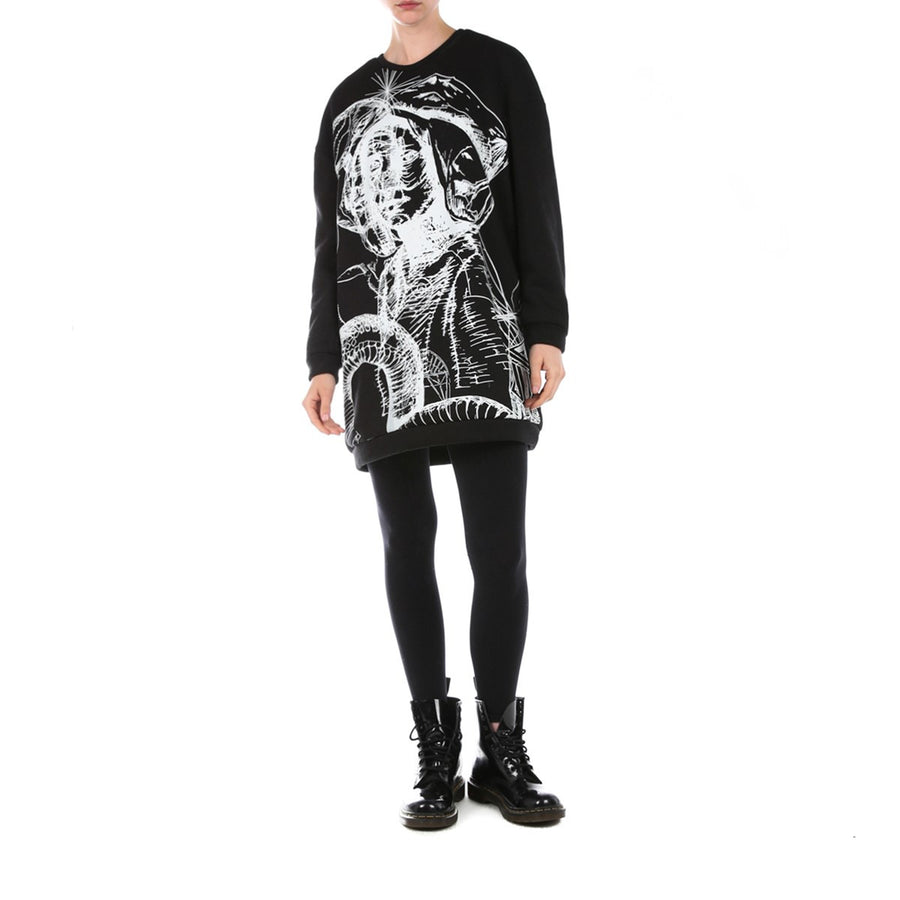 Oversized Black Printed Sweatshirt Dress Edouard Lecouturier - EDOUARD LECOUTURIER