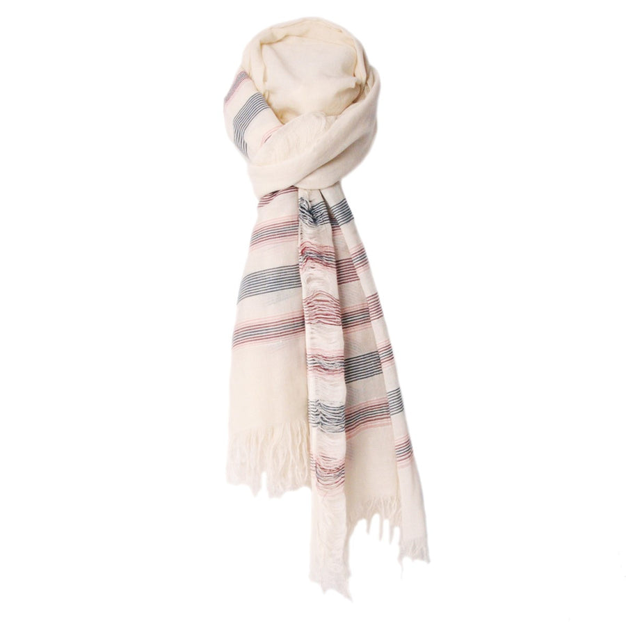 Mens Ivory Printed Cotton Scarf Austin Monsieur Charli - Monsieur Charli