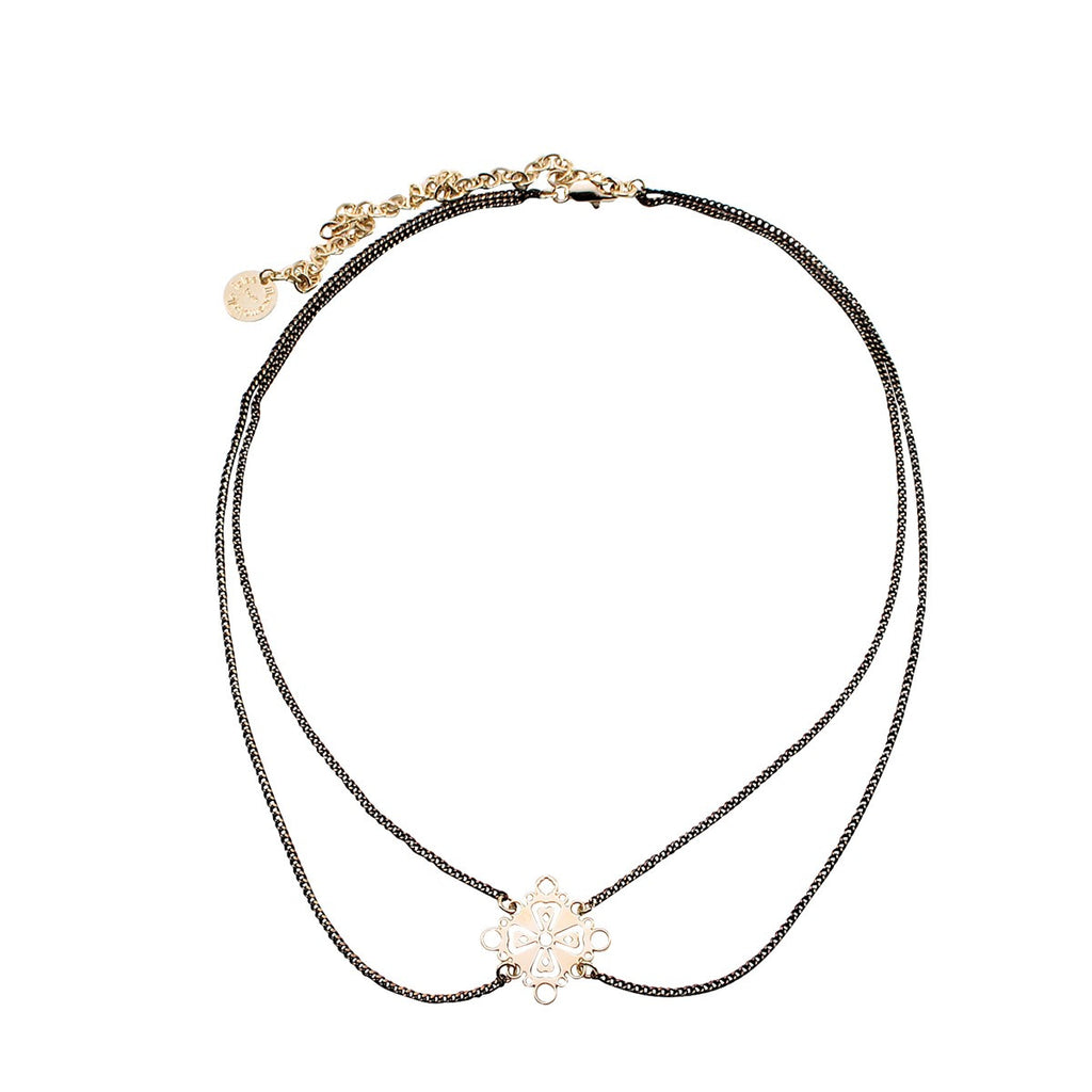 Black gold cross necklace Familia Barcelona - Mademoiselle Felee