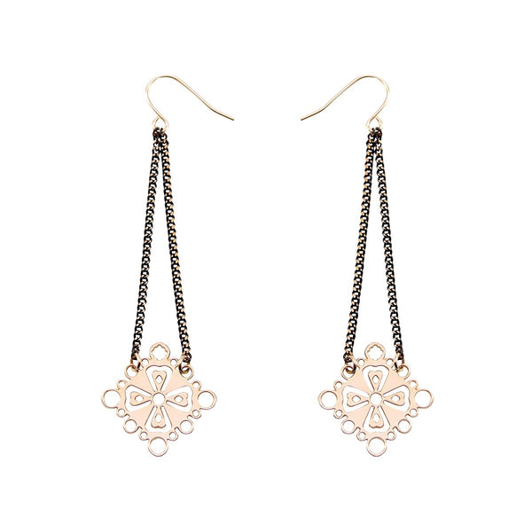 Black gold cross earrings Familia Barcelona - Mademoiselle Felee