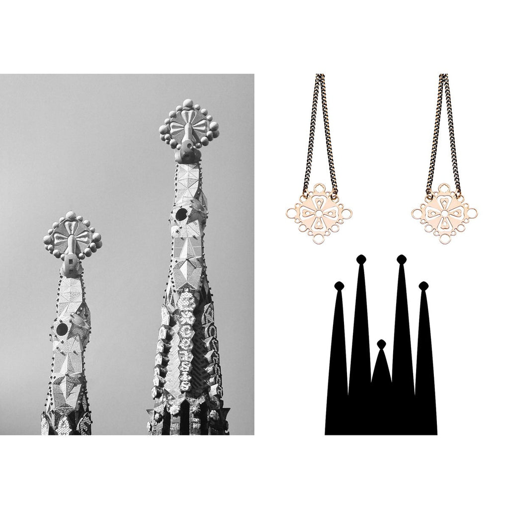 Black gold cross earrings Familia Barcelona