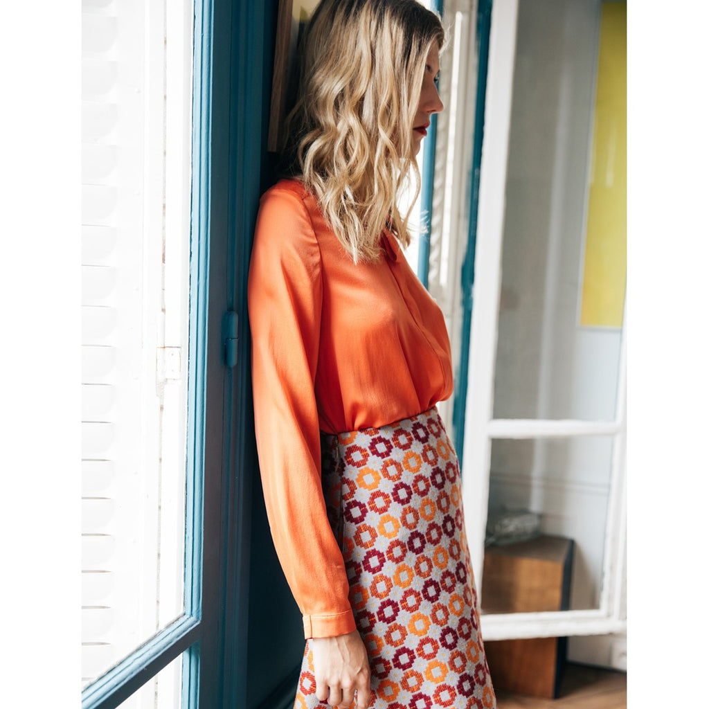 Women silk shirt Gabrielle Orange - Sunday Life