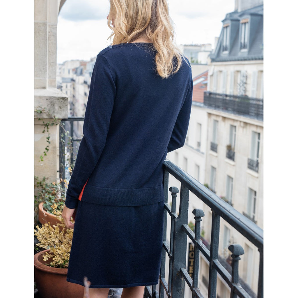 Dress in wool and cashmere Sandra Navy Blue - Sunday Life